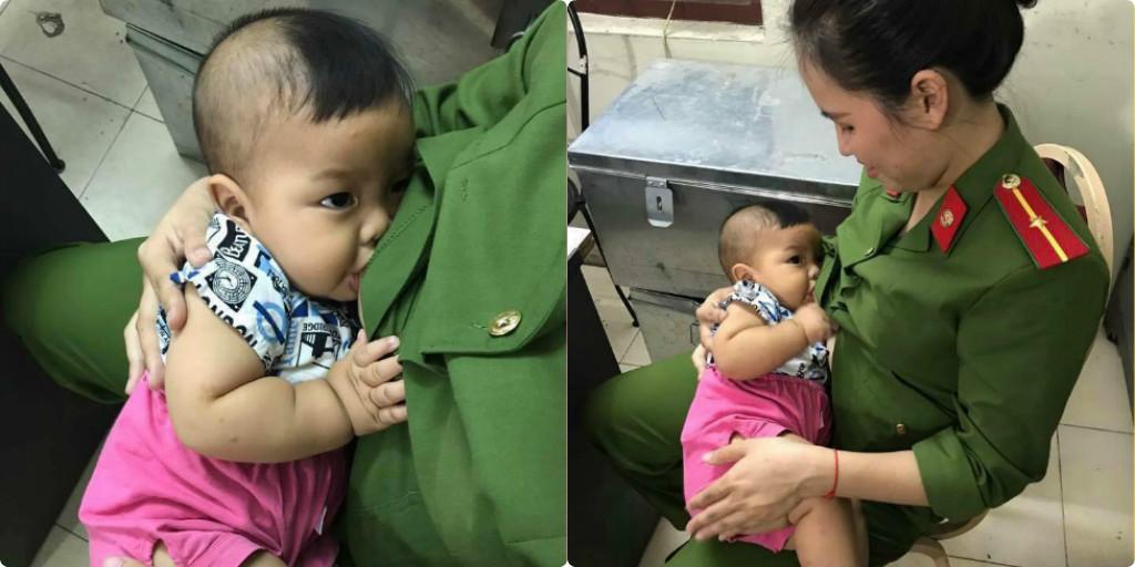 nứ thiếu úy công an, bé 7 tháng bị bỏ rơi