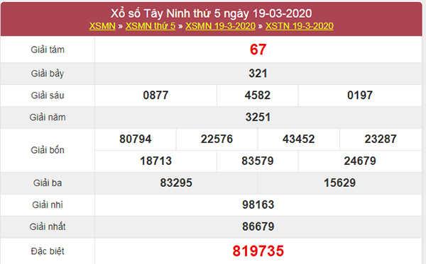 Soi cầu số đẹp Tây Ninh 26/3/2020 - KQXSTN thứ 5
