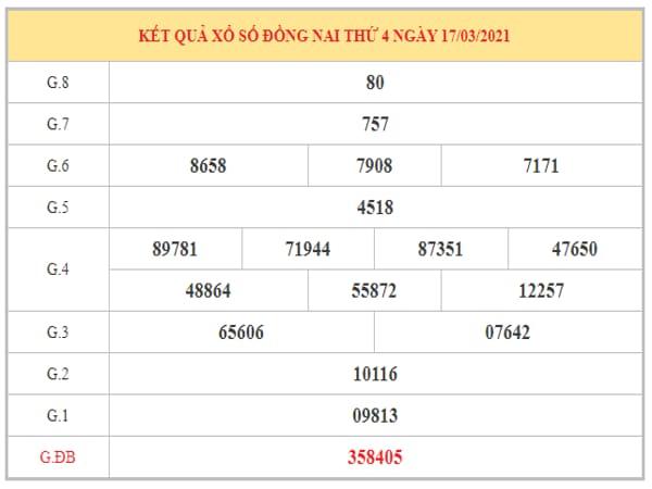 Soi cầu XSDN ngày 24/3/2021 dựa trên kết quả kì trước